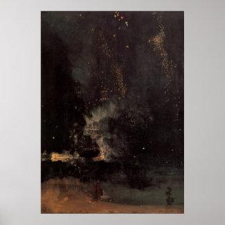 Nocturne en negro y oro el Rocket que cae Posters