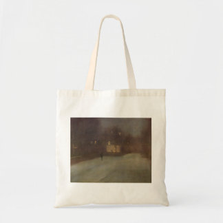 Nocturne Grey and Gold Snow in Chelsea by Whistler Tote Bag