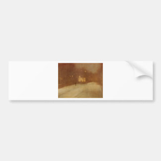 Nocturne in Gray and Gold snow in Chelsea by James Bumper Sticker