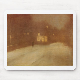 Nocturne in Gray and Gold snow in Chelsea by James Mouse Pad