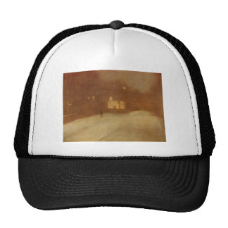 Nocturne in Gray and Gold snow in Chelsea by James Trucker Hat