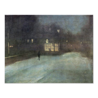 Nocturne In Gray And Gold Snow In Chelsea By Whist 4.25x5.5 Paper Invitation Card