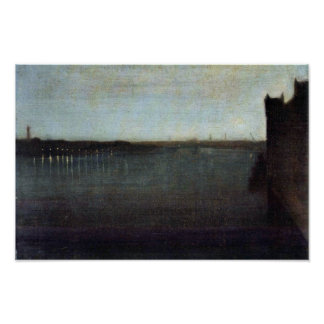 Nocturne In Gray And Gold Westminster Bridge By Wh Poster