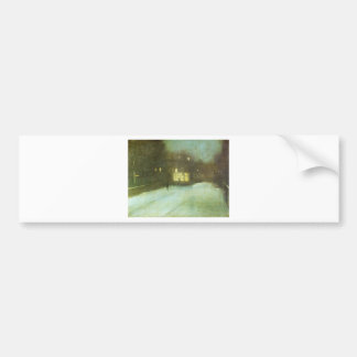 Nocturne in Grey and Gold: Chelsea Snow by James Car Bumper Sticker