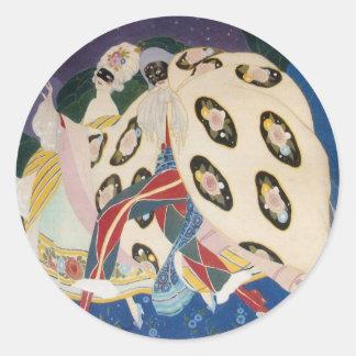 NOCTURNE WITH MASKS / Art Deco Venetian Masquerade Classic Round Sticker