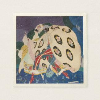 NOCTURNE WITH MASKS / Art Deco Venetian Masquerade Paper Napkin