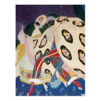 NOCTURNE WITH MASKS / Art Deco Venetian Masquerade Postcard