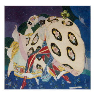 NOCTURNE WITH MASKS Art Deco Venetian Masquerade Poster