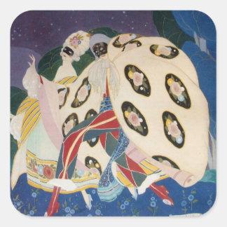 NOCTURNE WITH MASKS / Art Deco Venetian Masquerade Square Sticker