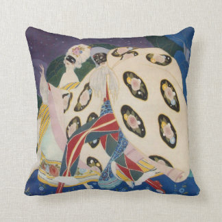 NOCTURNE WITH MASKS / Art Deco Venetian Masquerade Throw Pillow