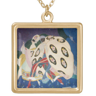 NOCTURNE WITH MASKS / Venetian Masquerade Gold Plated Necklace