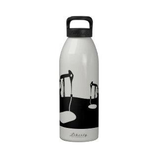 Nodding donkeys with copy space for customisation drinking bottles