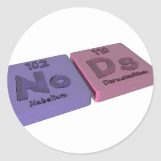 Nods as No Nobelium and Ds Darmstadtium Classic Round Sticker