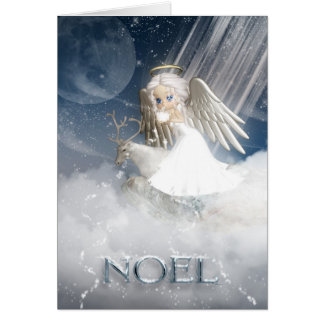 NOEL, Angel Blowing Snow Over The World Greeting Card