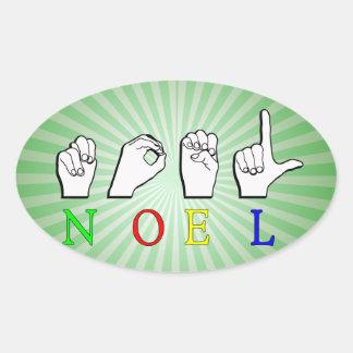 NOEL  ASL FINGERSPELLED NAME SIGN OVAL STICKER