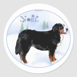 Noel Bernese Mountain Dog - Customized Classic Round Sticker