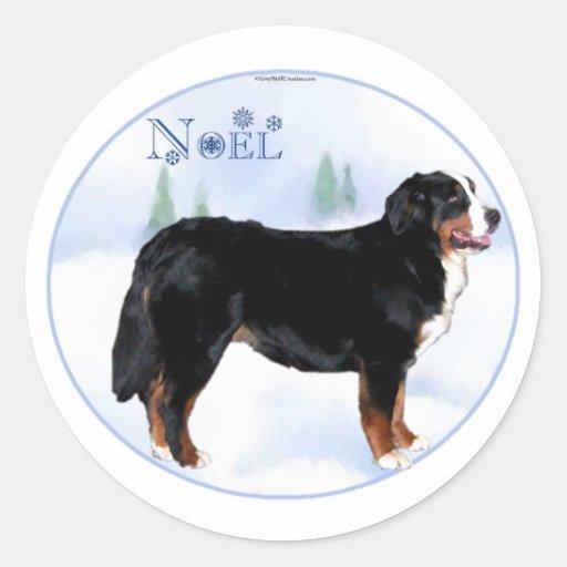 Noel Bernese Mountain Dog - Customized Classic Round Sticker