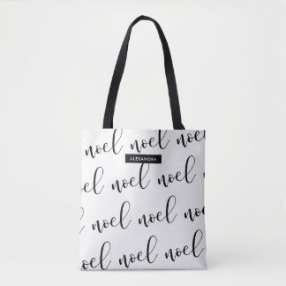 Noel | Black and White Christmas Script with Name Tote Bag