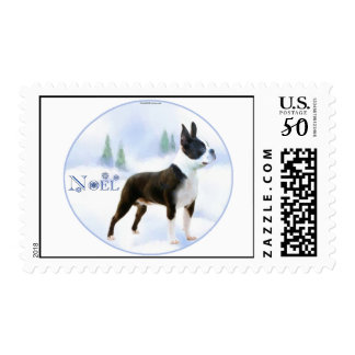 Noel Boston Terrier Postage Stamps