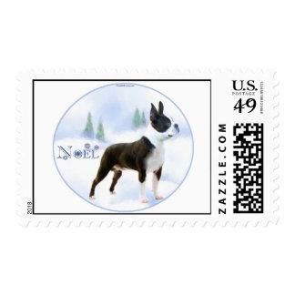 Noel Boston Terrier Postage Stamps