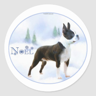 Noel Boston Terrier Stickers