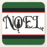 """Noel Cat Coasters<br><div class=""""desc"""">The peace of the holiday season is accentuated by the quiet grace of a feline silhouette on these charming holiday coasters.</div>"""