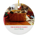 Noel Cat Photo Holiday Ornament