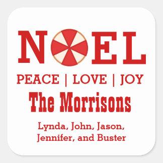 NOEL Christmas Candy Custom Sentiment Names V03 Square Sticker