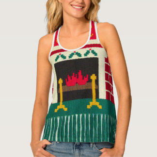 Noel Christmas Colors Brick Fireplace Vest Crochet Tank Top