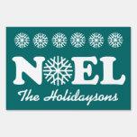 NOEL Christmas Custom Family Name Snowflakes V04 Sign