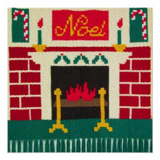 Noel Christmas Fireplace Red Green Gold Crochet Poster