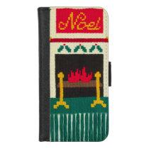 Noel Christmas Fireplace Unique Crochet Print on iPhone 8/7 Wallet Case