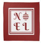 NOEL Christmas Holiday Red And White Bandana