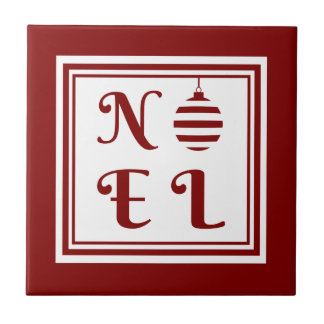 NOEL Christmas Holiday Red And White Bauble Ceramic Tile
