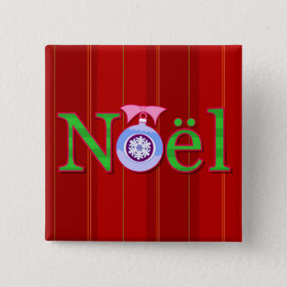 Noel Christmas Holiday Square Button