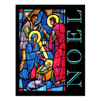 NOEL del vitral de la natividad con el cordero y Tarjetas Postales