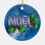 Noel en vitral adorno navideño redondo de cerámica