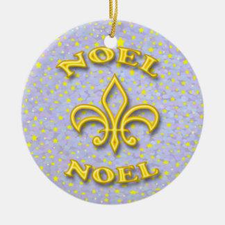 Noel Fleur de Lis Christmas Ceramic Ornament