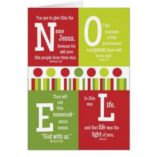 NOEL Folded Scripture Christmas Card-BLANK Inside Card