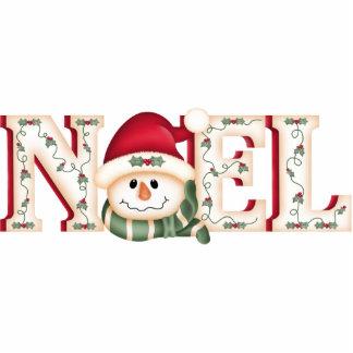 """NOEL"" Folk Art Snowman Photo Sculpture"