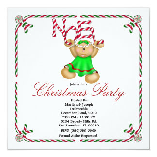 Noel Gingerbread Man CUTE Christmas Party Holiday Card