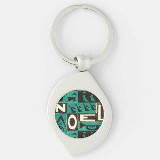 Noel Green Silver-Colored Swirl Metal Keychain