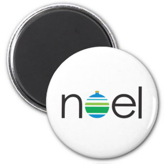 Noel Greeting Blue and Green Ornament Christmas 2 Inch Round Magnet