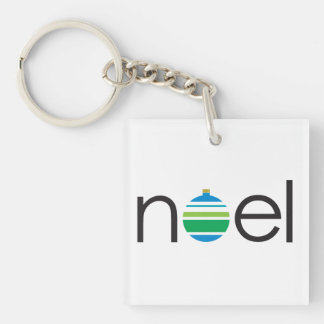 Noel Greeting Blue and Green Ornament Christmas Double-Sided Square Acrylic Keychain
