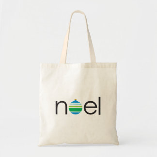 Noel Greeting Blue and Green Ornament Christmas Tote Bag