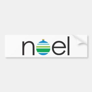 """Noel"" Greeting Blue Green Ornament Christmas Bumper Sticker"