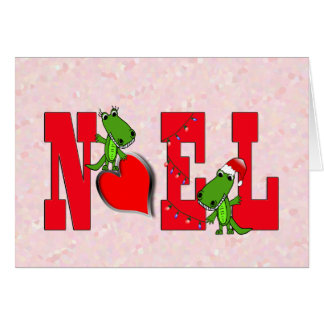 Noel Heart Cute Alligator Card