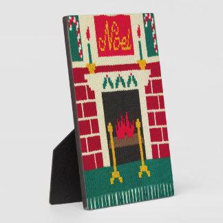 Noel Holiday Brick Fireplace Crochet Free Standing Plaque