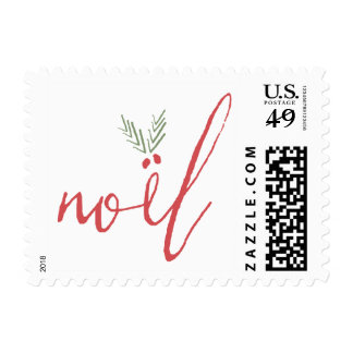 Noel Holly Red and Green Christmas Holiday Stamp