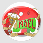 NOEL Hotdog Round Sticker